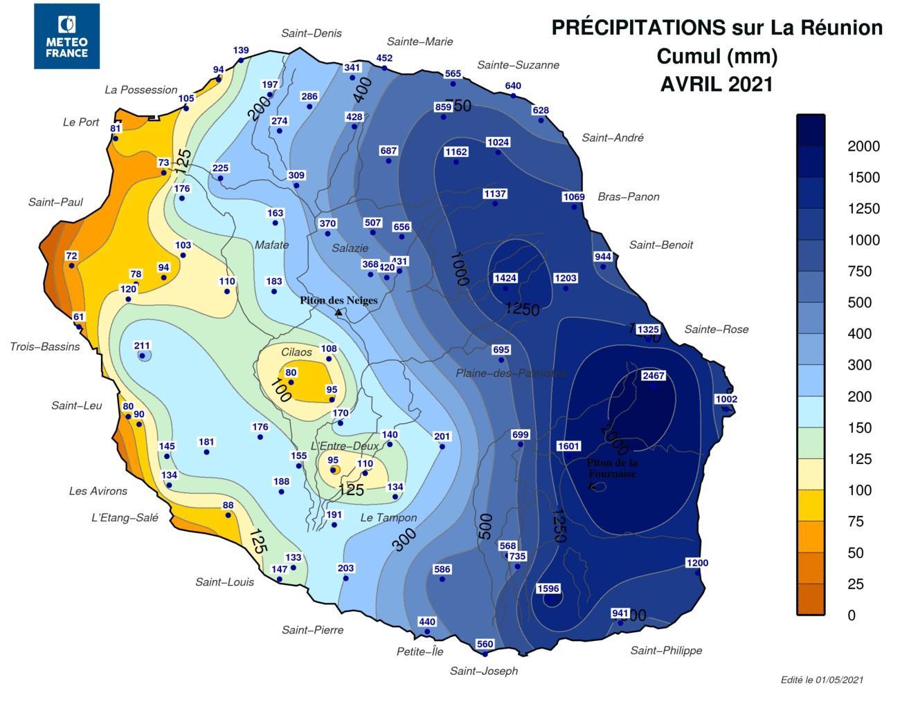 pluviometrie avril 2021 la reunion