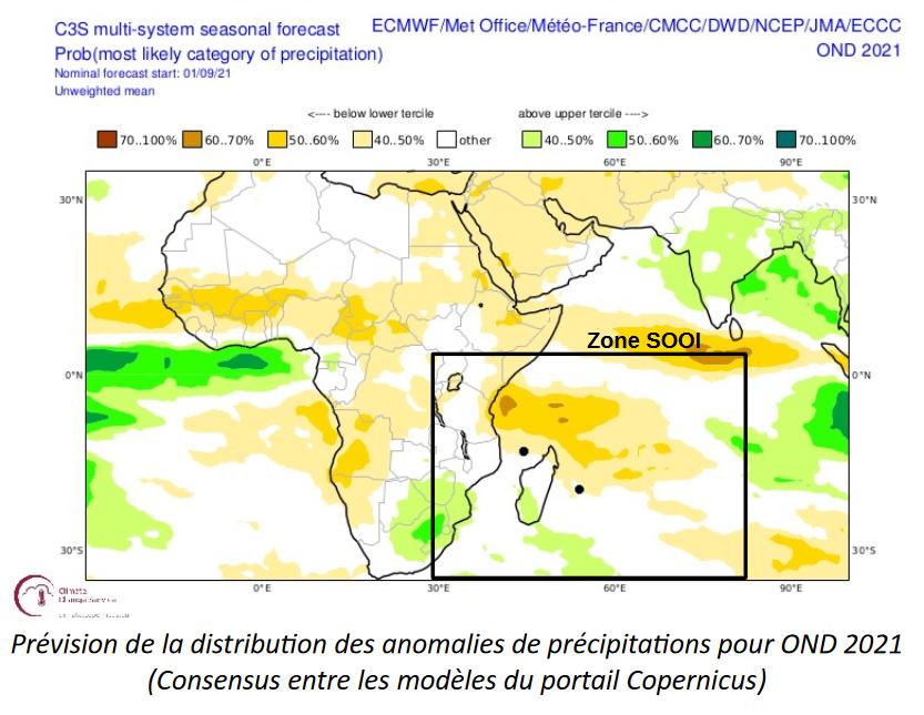 prévision precipitation octobre novembre decembre 2021 ocean indien
