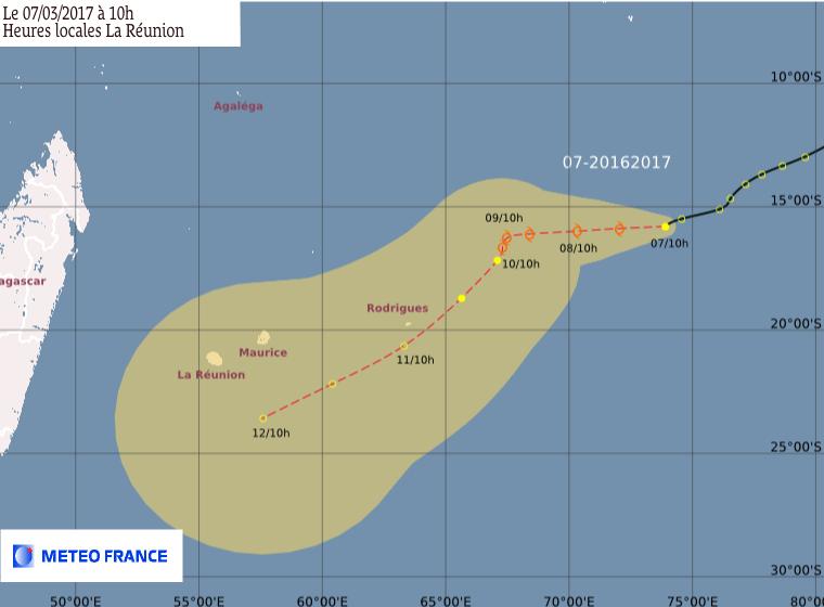 Prévision Météo France du 07/03/2017 à 10h de la Dépression Tropicale