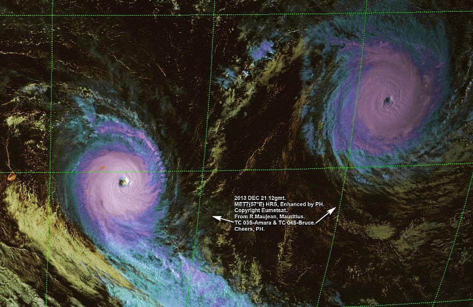 Image exceptionnelle d'un cyclone intense et très intense évoluant en même temps (P. HOREAU)
