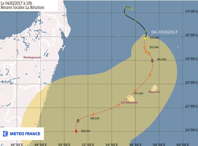 Prévision trajectoire de la future Tempête Tropicale CARLOS à 10h (Météo France)