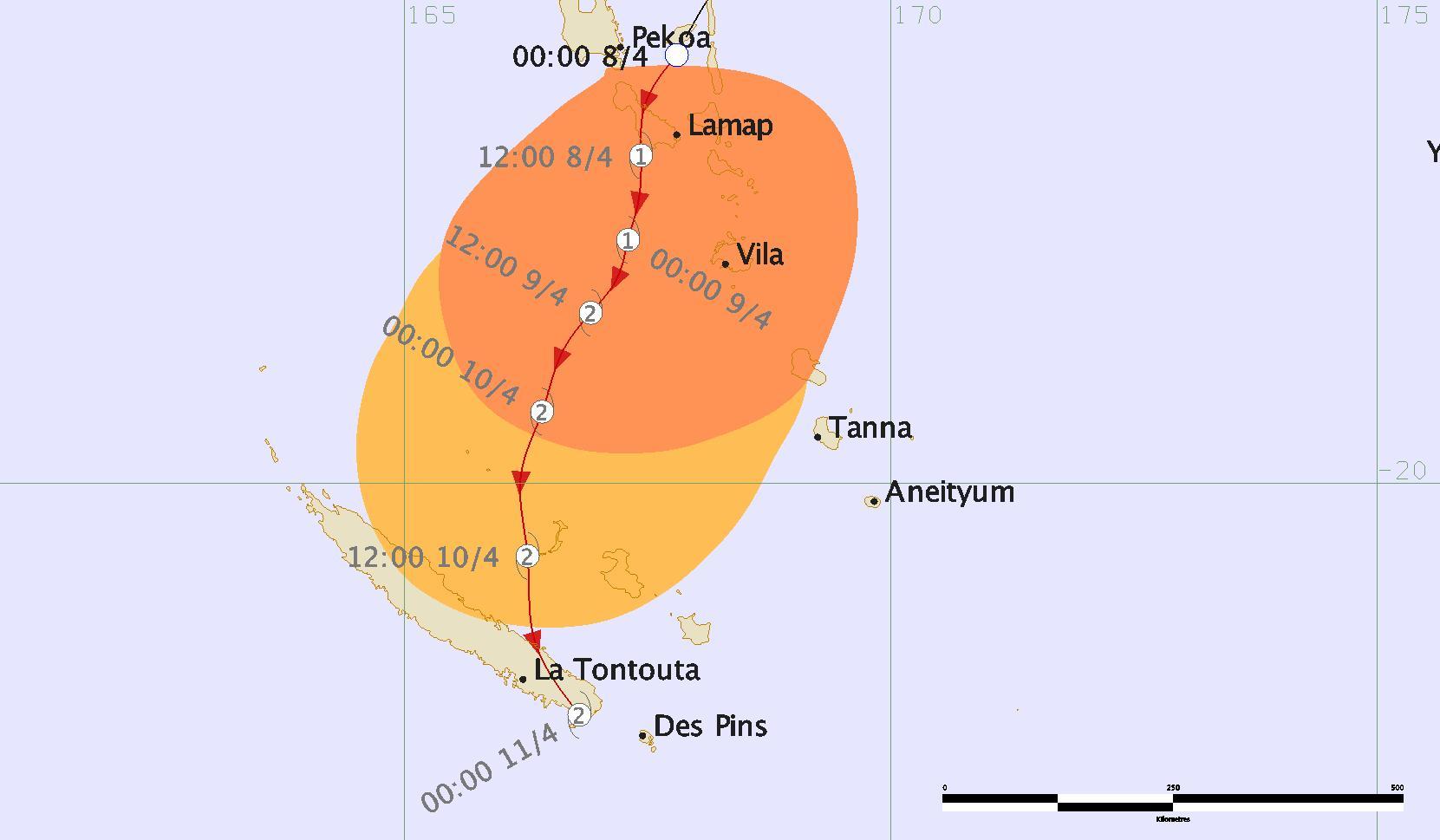 Carte de menace cyclonique dépression tropicale 20F (CMRS FIDJI)