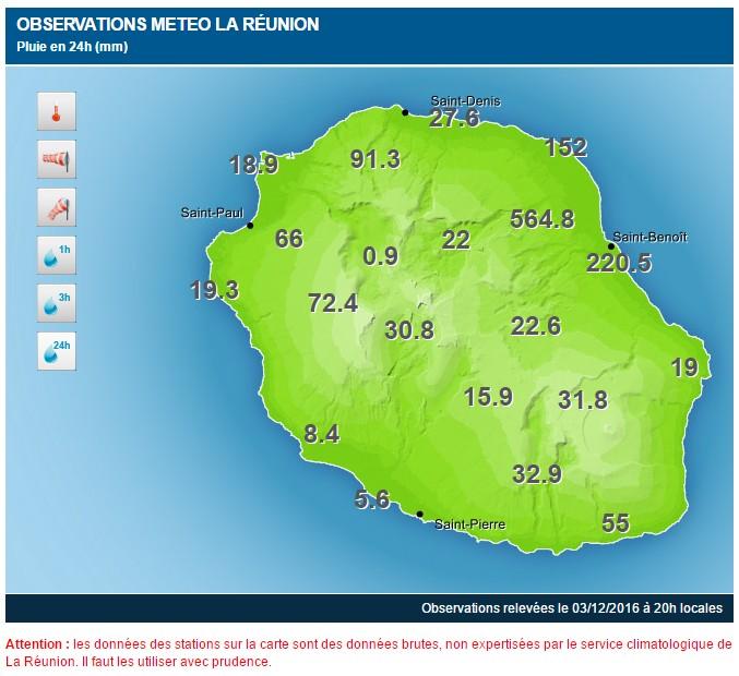 Carte des précipitations de Météo France du vendredi 02/11 20h au samedi 03/11 20h