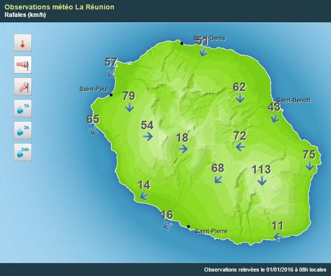 Carte des rafales à 8h locales (Météo France)