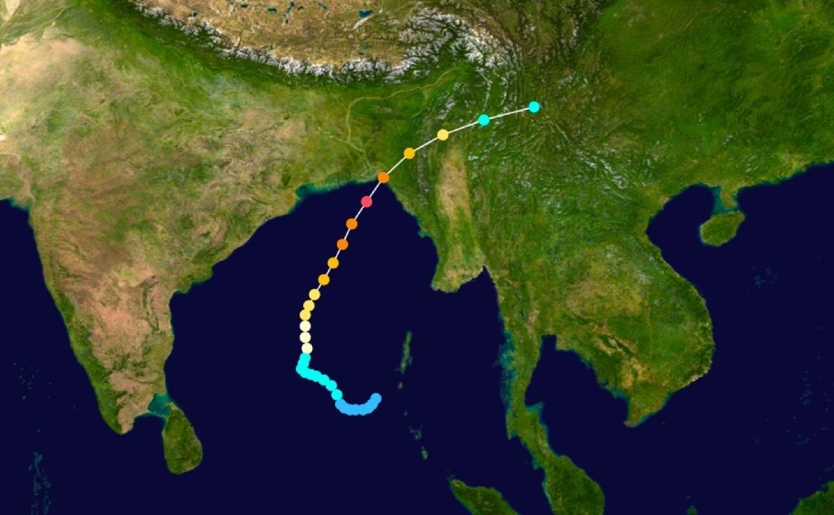 Cyclone bangladesh 1991 trajectoire