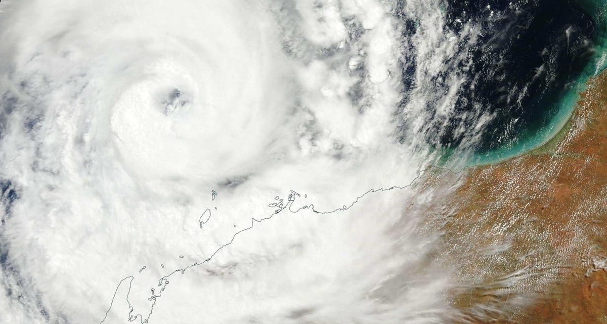 Cyclone olwyn as seen by nasa satellite off wa27s coastjpg data