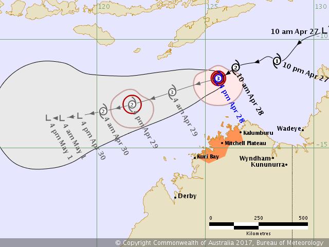 Cyclone tropical frances prévisions du 28/04/2017 à 06utc
