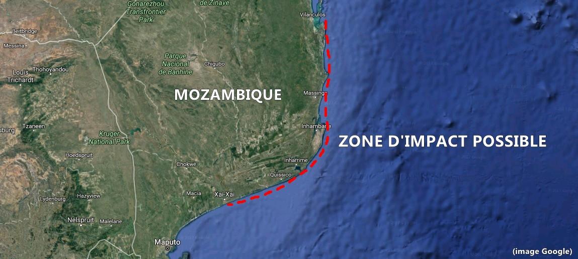 Zone d'impact possible selon Météo France