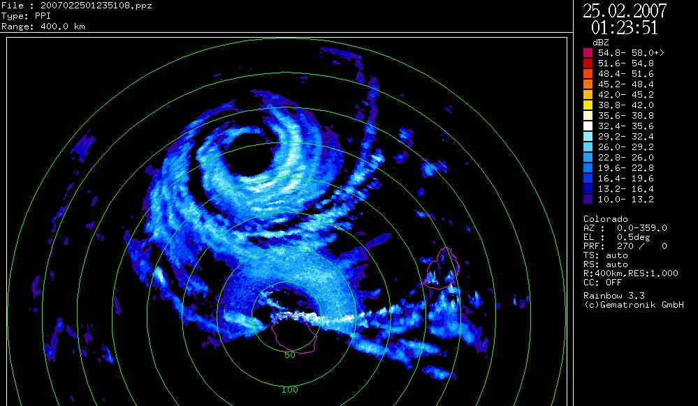 Gamede sur le radar de Météo France le 25 02 2007 (Météo France)