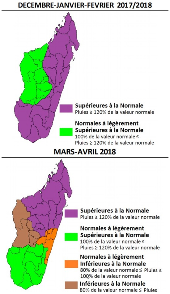 Tendances saisonnières Météo Madagascar pour les précipitations durant l'été austral 2017/2018