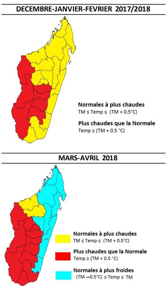 Tendances saisonnières Météo Madagascar pour les températures durant l'été austral 2017/2018