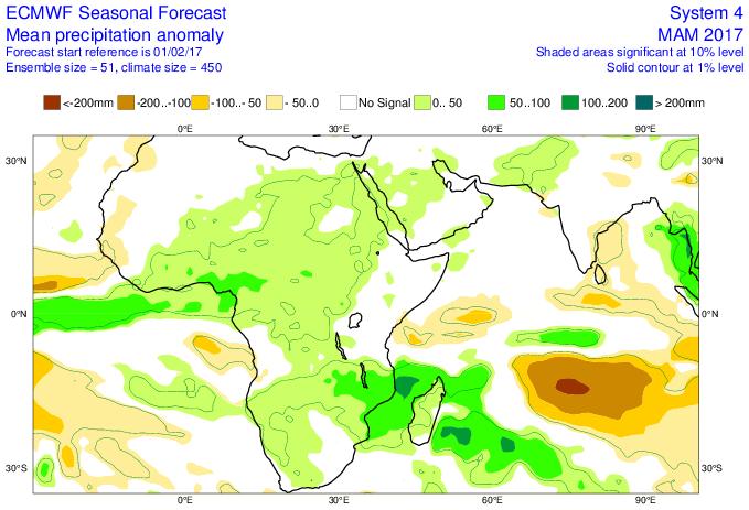 Anomalie pluviométrique mars, avril, mai (ECMWF)