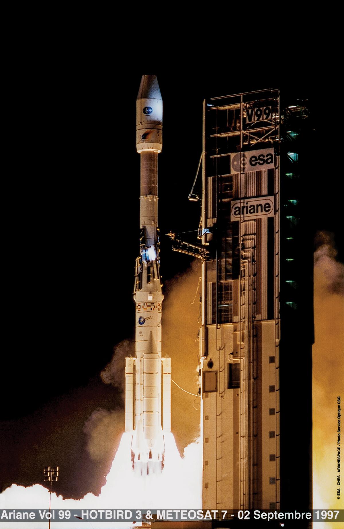 Lancement du satellite METEOSAT7 en 1997 (ESA)