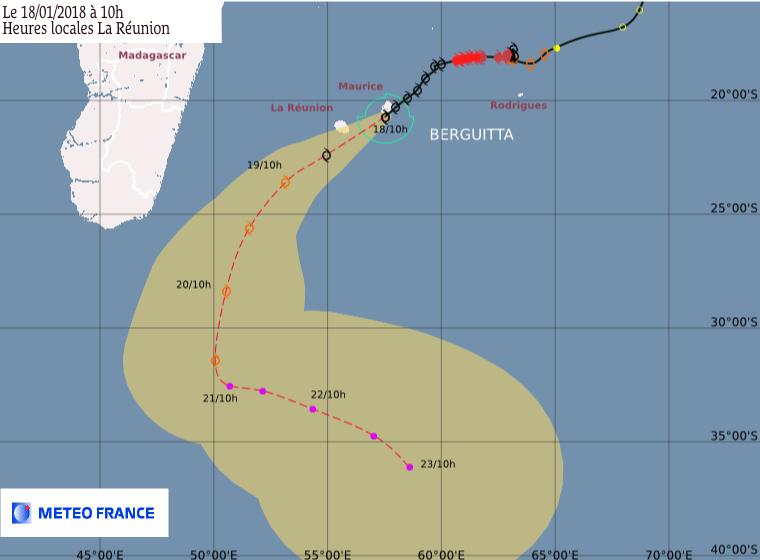BERGUITTA : Prévision du CMRS de la Réunion ce 18/01/2018 à 6z