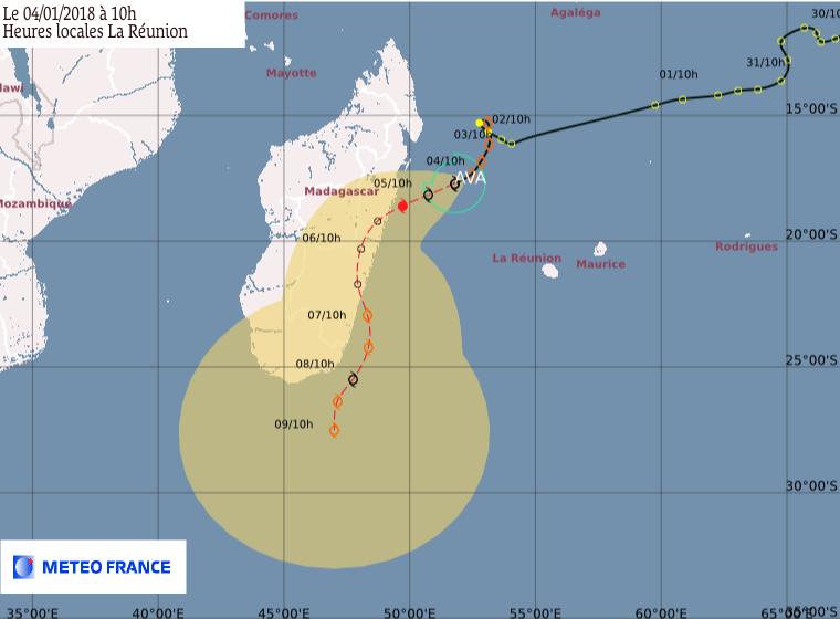 AVA : Prévision du CMRS de la Réunion ce 04/01/2018 à 6z (Météo France)