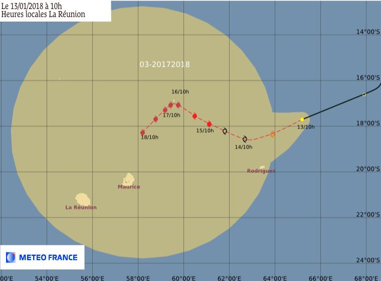 Prévision du CMRS de la Réunion ce 13/01/2018 à 06z (Météo France)
