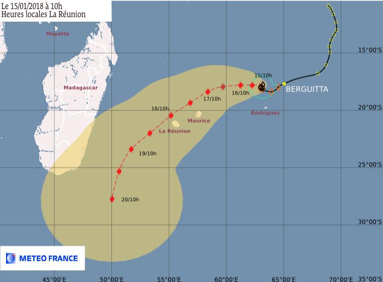 BERGUITTA : Prévisions du CMRS de la Réunion ce 15/01/2018 à 06:00utc (Météo France)