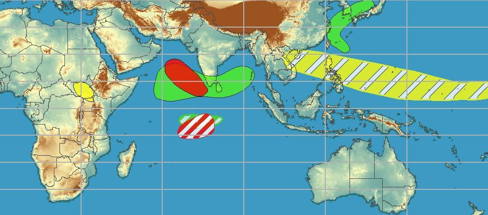 Carte de risque de cyclogenèse ©NOAA