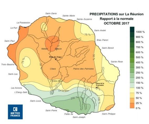 Carte Pluviométrie octobre 2017 (Météo France)