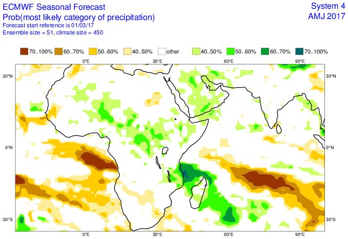 Prévisions saisonnières avril mai juin 2017 pour les précipitations (ECMWF)