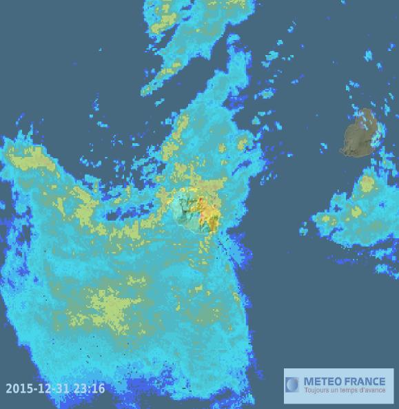Image radar à 23h16 locales (Météo France)
