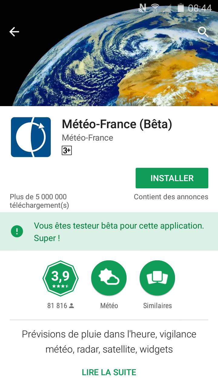 Application Météo France sur google play