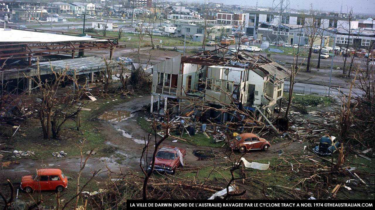 Darwin (nord de l'Australie) dévastée par le cyclone TRACY à Noel 1974 ©theaustralian.com