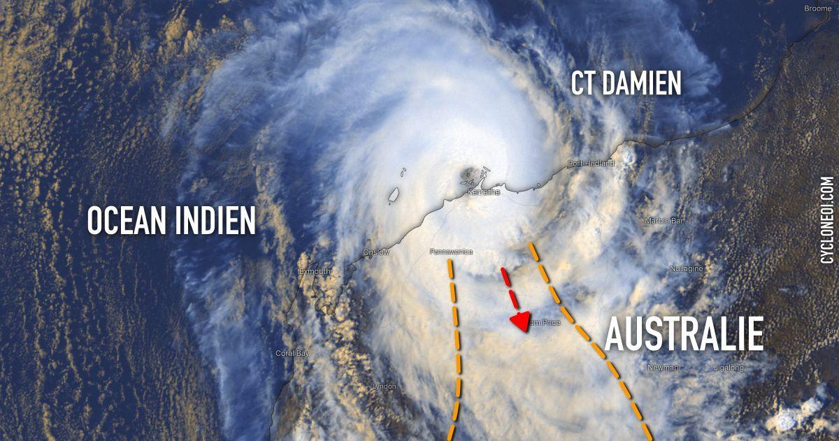 Trajectoire cyclone damien
