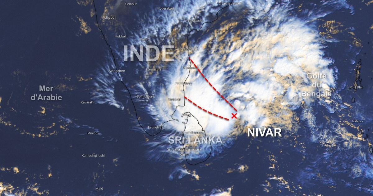 Trajectoire cyclone nivar