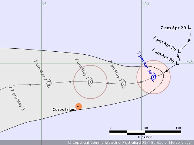 Prévision de trajectoire de la tempête GREG (BOM)