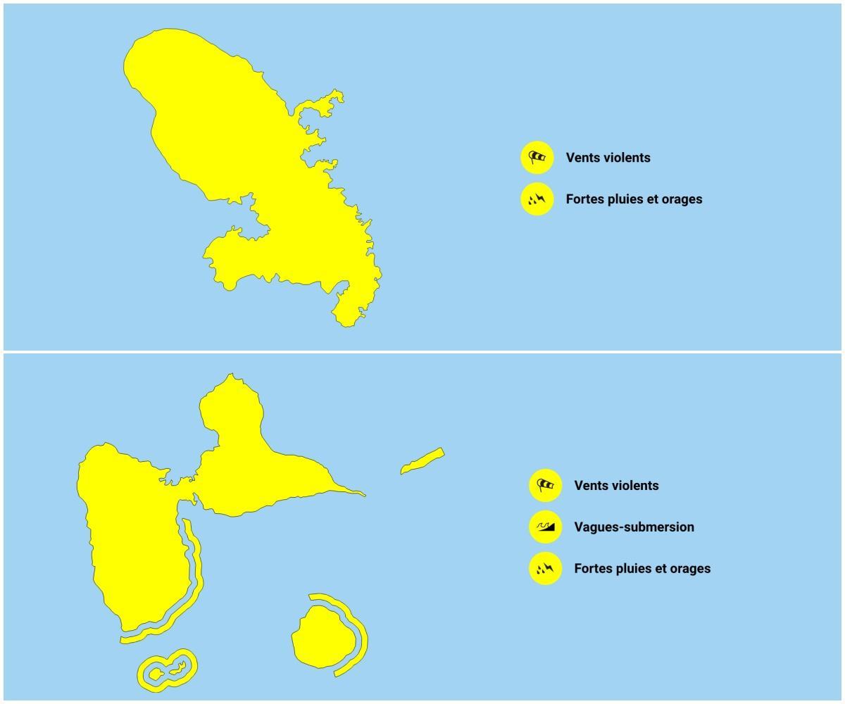 Vigilance jaune guadeloupe et martinique onde tropicale 94l